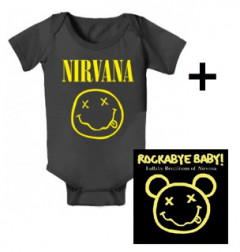 Nirvana Baby romper Smiley & Nirvana Rockabyebaby cd Cadeauset