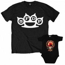 Duo Rockset Five Finger Death Punch papa t-shirt & Five Finger Death Punch baby romper