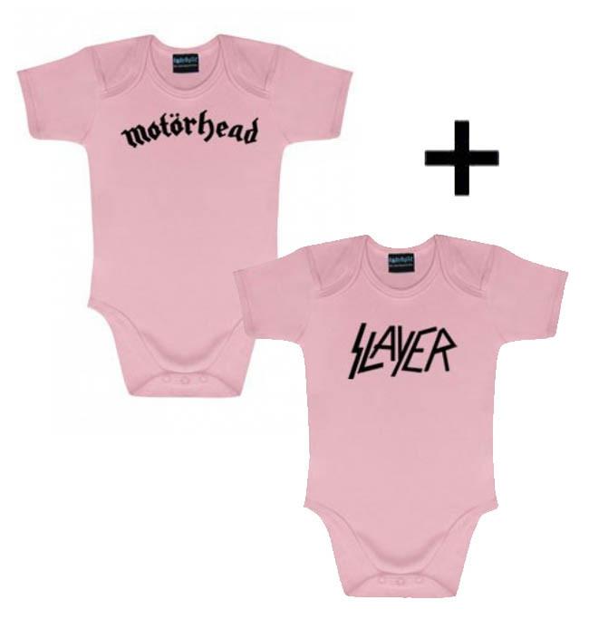 Cadeauset Motörhead Baby Romper & Slayer Romper Pink